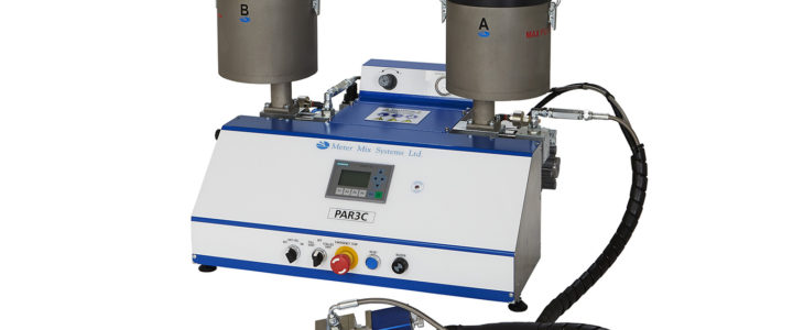 Efficient metering and mixing systems for electronic potting